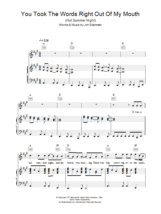 Meat Loaf You Took The Words Right Out Of My Mouth (Hot Summer Night) sheet music preview music notes and score for Piano, Vocal & Guitar including 9 page(s)