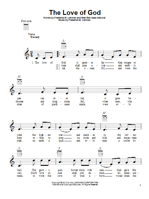 Meir Ben Isaac Nehorai The Love Of God sheet music preview music notes and score for Ukulele including 2 page(s)