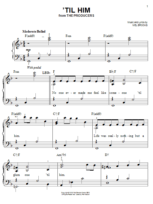 Download Mel Brooks ''Til Him' Digital Sheet Music Notes & Chords and start playing in minutes