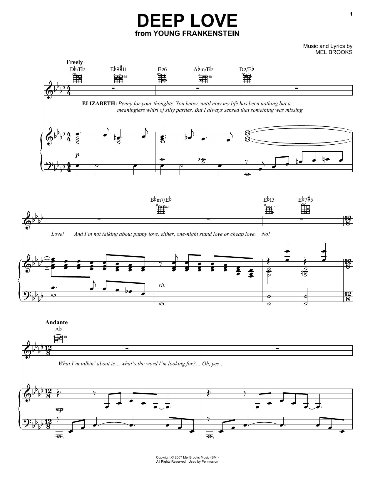 Mel Brooks Deep Love sheet music preview music notes and score for Piano, Vocal & Guitar (Right-Hand Melody) including 4 page(s)