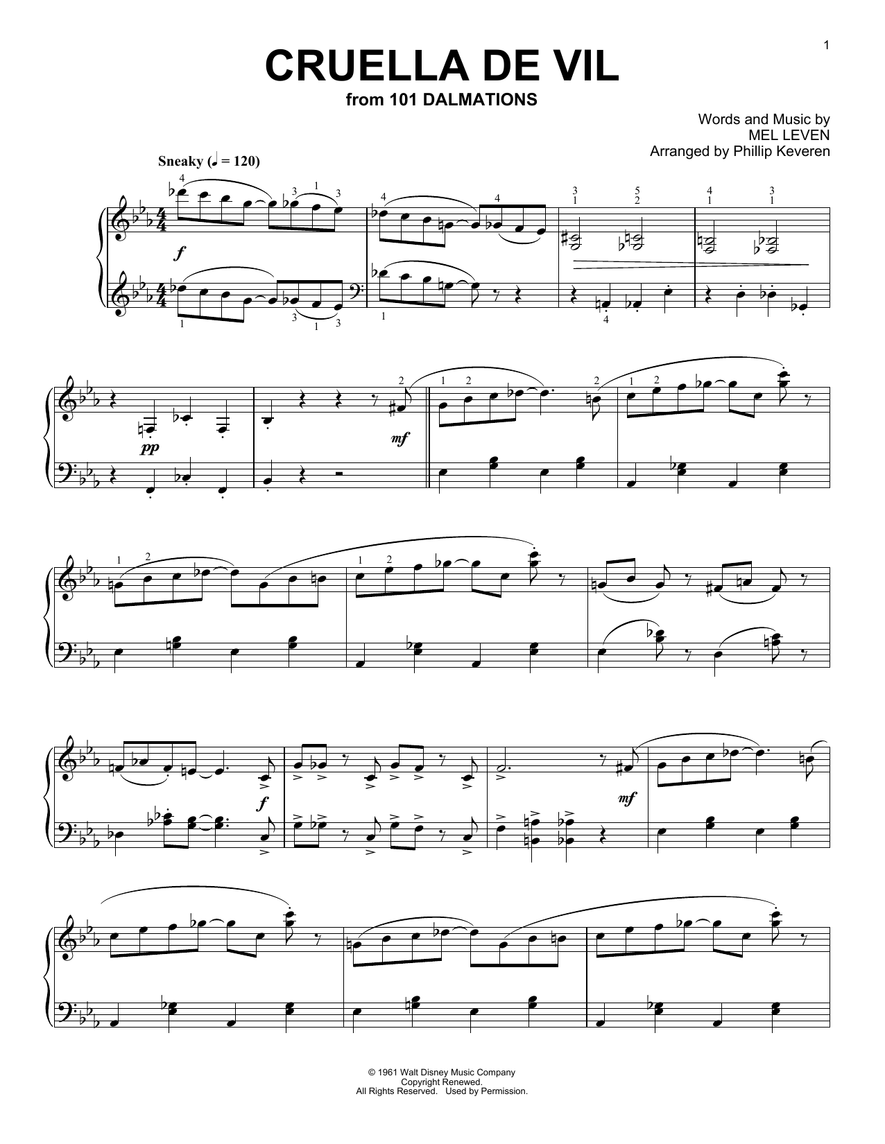 Download Phillip Keveren 'Cruella De Vil' Digital Sheet Music Notes & Chords and start playing in minutes