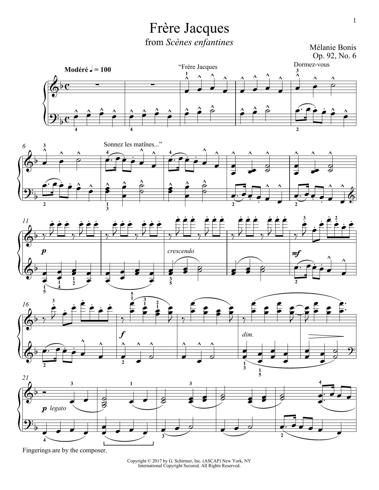 Download Melanie Bonis 'Frere Jacques' Digital Sheet Music Notes & Chords and start playing in minutes