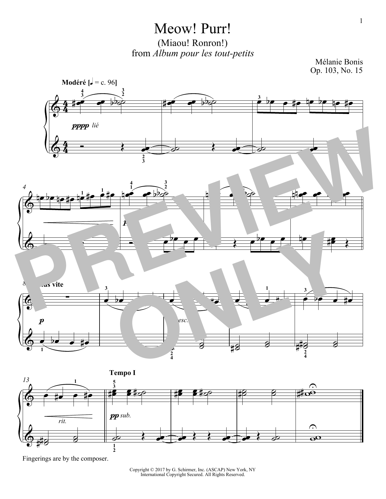 Download Melanie Bonis 'Meow! Purr! (Miaou! Ronron!)' Digital Sheet Music Notes & Chords and start playing in minutes