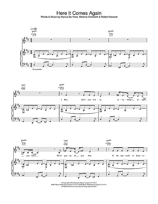 Melanie C Here It Comes Again sheet music notes and chords