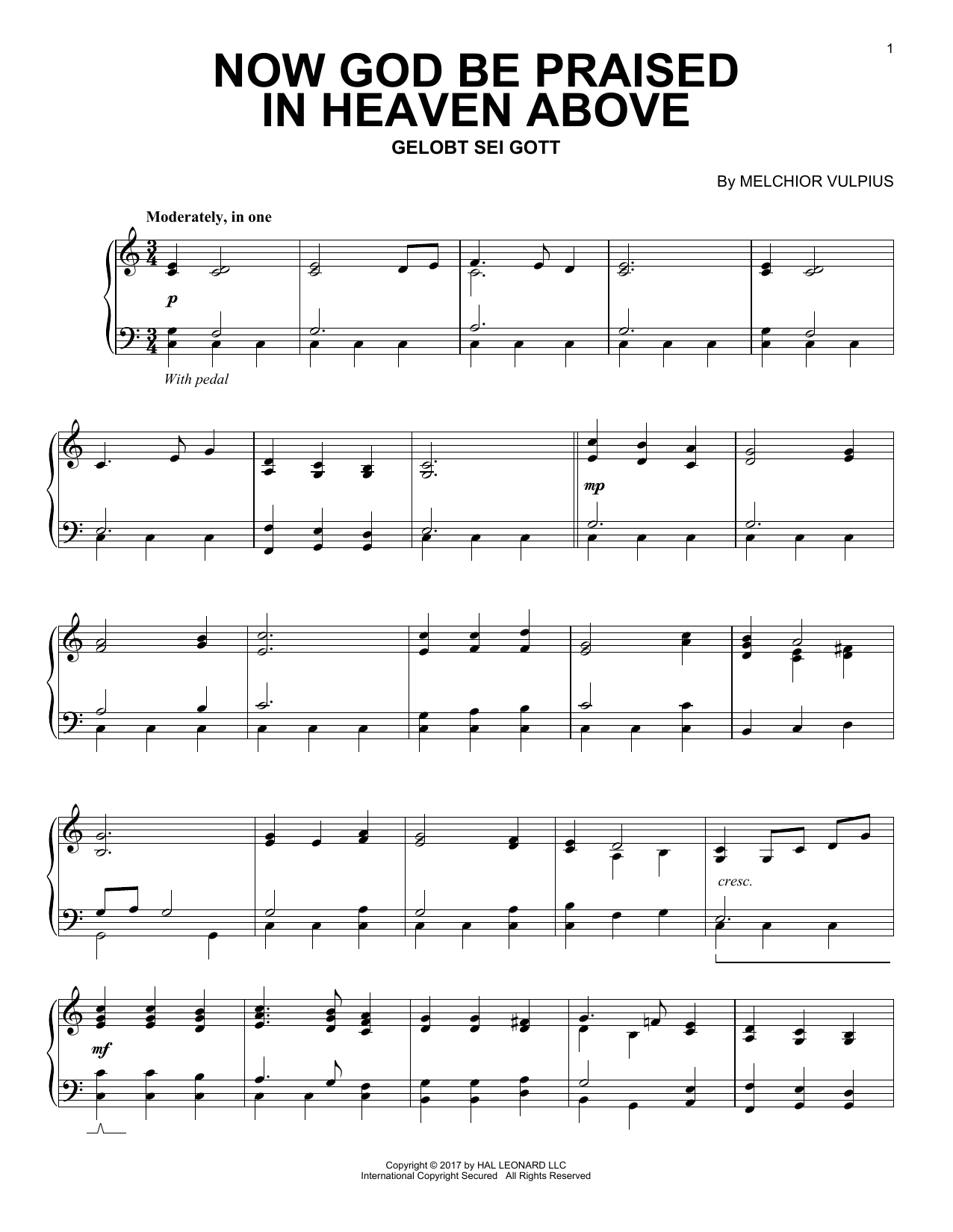 Download Melchior Vulpius 'Now God Be Praised In Heaven Above' Digital Sheet Music Notes & Chords and start playing in minutes
