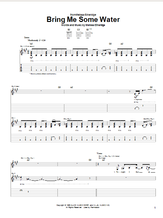 Melissa Etheridge Bring Me Some Water sheet music preview music notes and score for Guitar Tab including 14 page(s)
