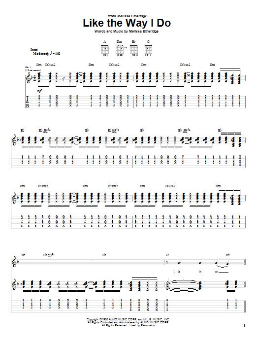 Melissa Etheridge Like The Way I Do sheet music notes and chords