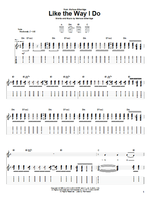 Melissa Etheridge Like The Way I Do sheet music preview music notes and score for Guitar Tab including 11 page(s)