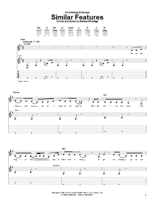 Melissa Etheridge Similar Features sheet music preview music notes and score for Guitar Tab including 10 page(s)