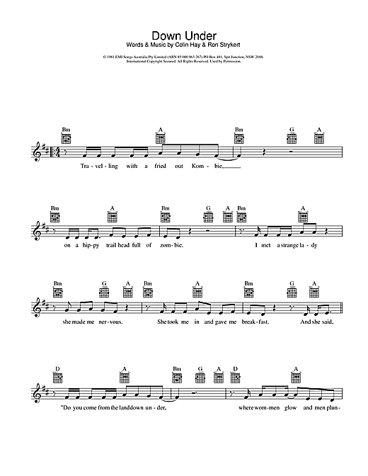 Men At Work Down Under sheet music preview music notes and score for Melody Line, Lyrics & Chords including 2 page(s)