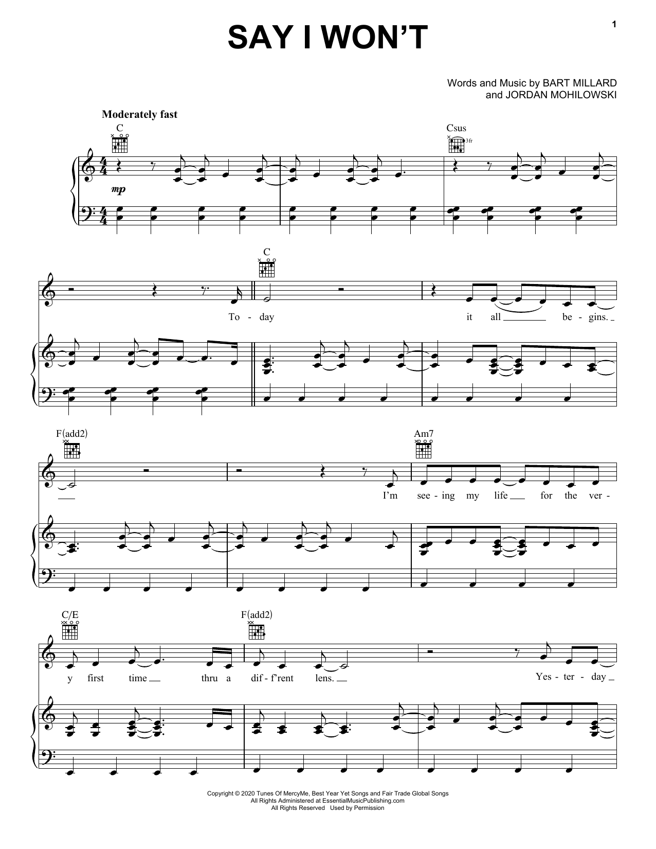 MercyMe Say I Won't sheet music preview music notes and score for Piano, Vocal & Guitar (Right-Hand Melody) including 8 page(s)