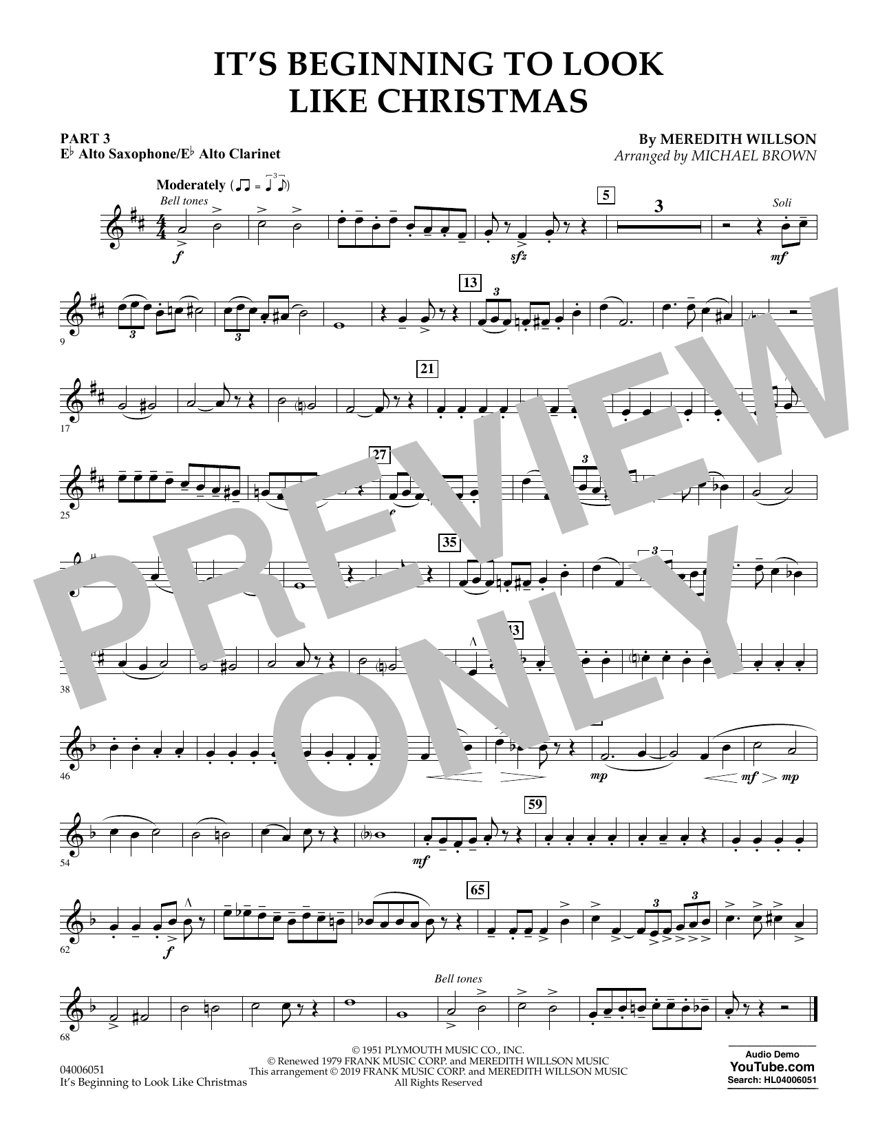 Meredith Willson It's Beginning to Look Like Christmas (arr. Michael Brown) - Pt.3 - Eb Alto Sax/Alto Clar. sheet music preview music notes and score for Concert Band: Flex-Band including 1 page(s)