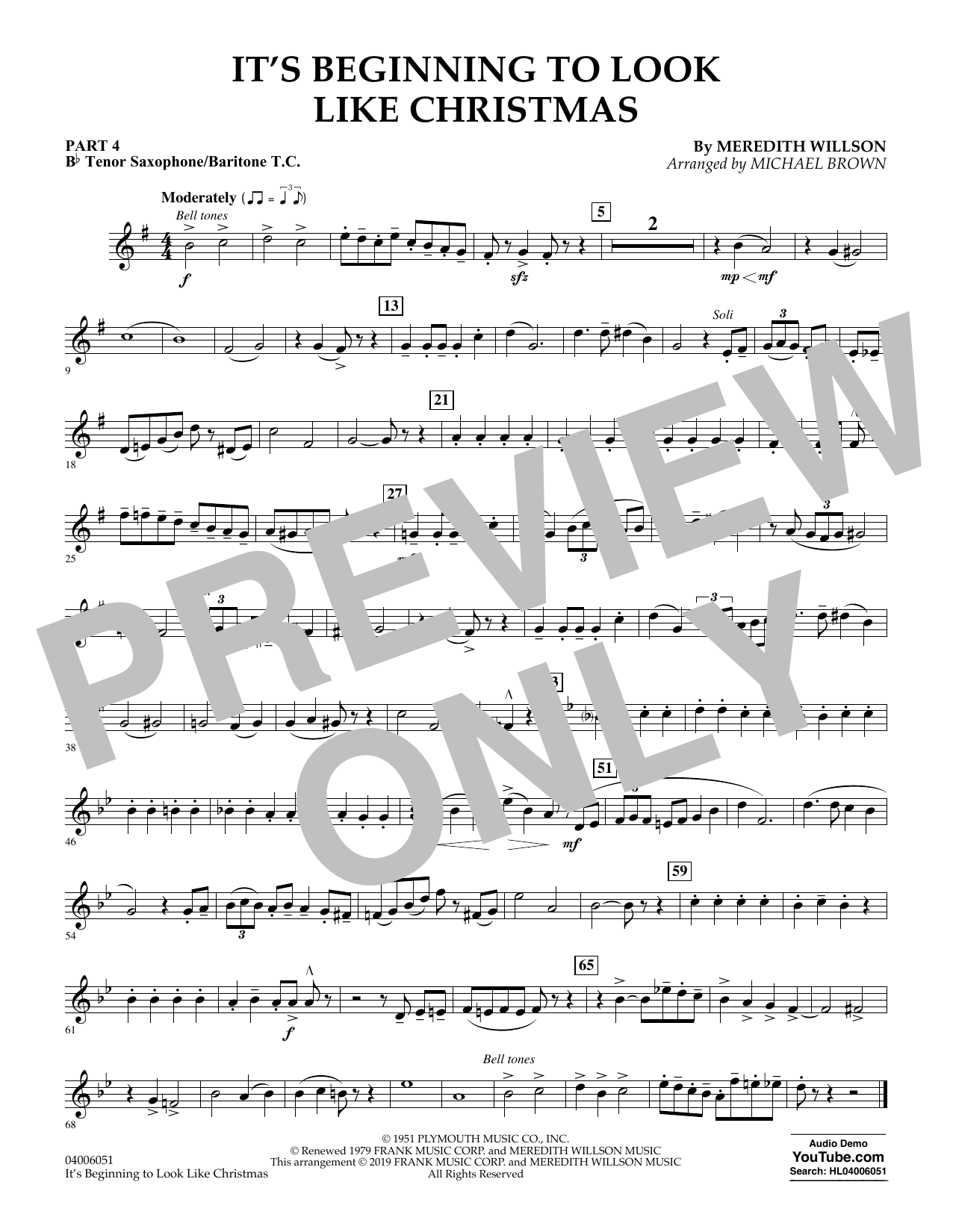 Meredith Willson It's Beginning to Look Like Christmas (arr. Michael Brown) - Pt.4 - Bb Tenor Sax/Bar. T.C. sheet music preview music notes and score for Concert Band: Flex-Band including 1 page(s)