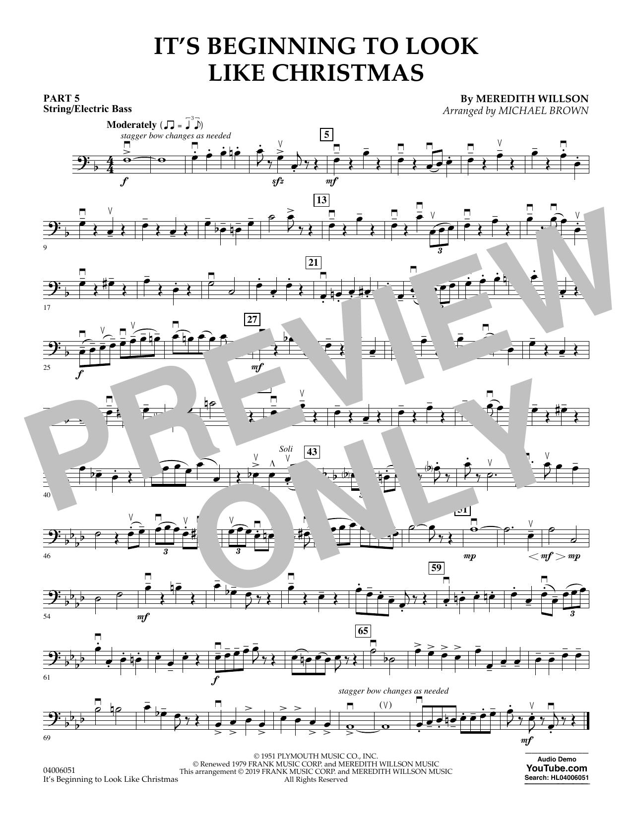 Meredith Willson It's Beginning to Look Like Christmas (arr. Michael Brown) - Pt.5 - String/Electric Bass sheet music preview music notes and score for Concert Band: Flex-Band including 1 page(s)
