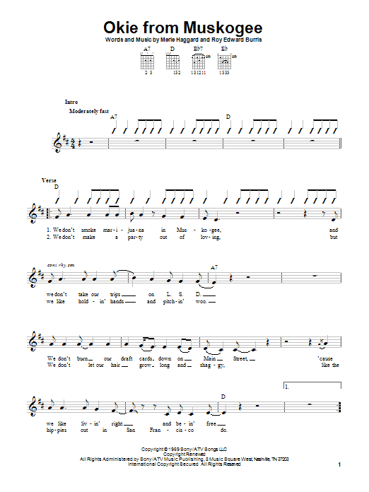 Merle Haggard Okie From Muskogee sheet music preview music notes and score for Guitar Tab including 2 page(s)