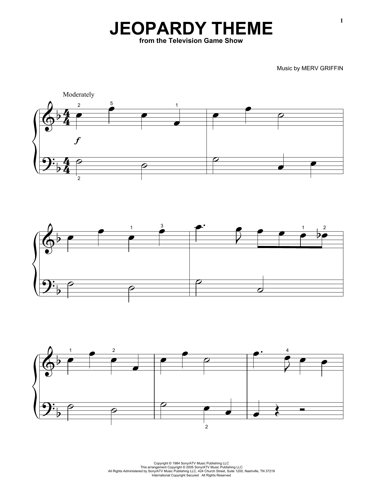 Merv Griffin Jeopardy Theme sheet music preview music notes and score for Easy Guitar Tab including 4 page(s)
