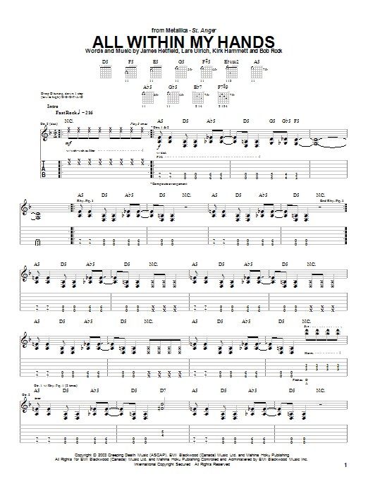 Metallica All Within My Hands sheet music notes and chords