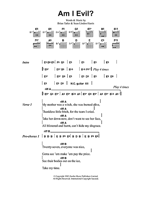 Metallica Am I Evil? sheet music preview music notes and score for Guitar Tab including 9 page(s)