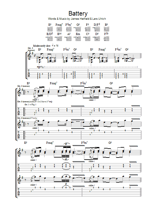 Metallica Battery sheet music preview music notes and score for Ukulele including 5 page(s)