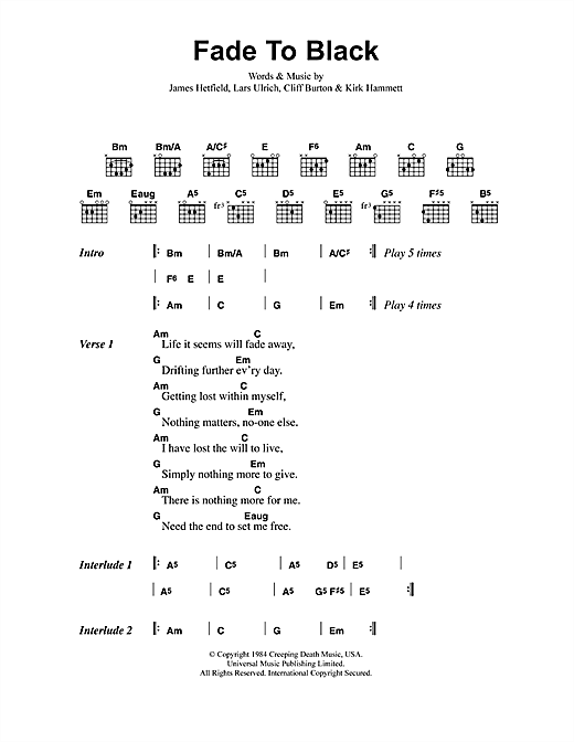 Metallica Fade To Black sheet music preview music notes and score for Easy Guitar Tab including 4 page(s)