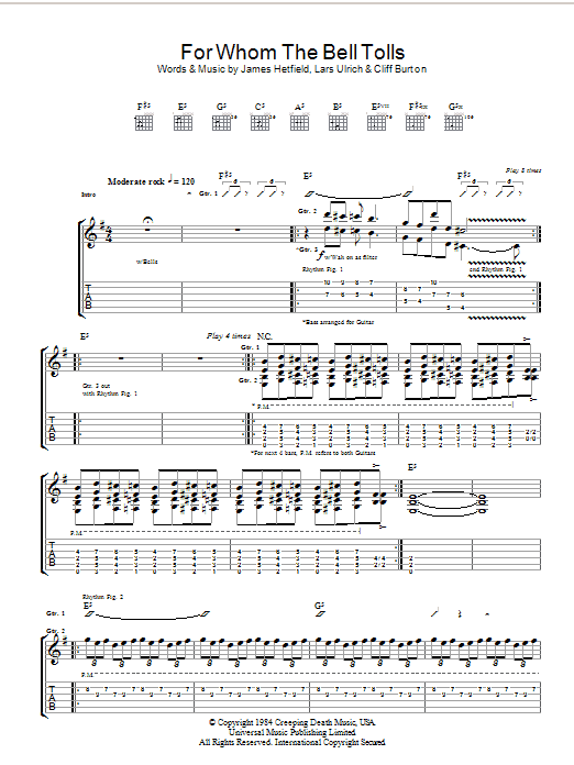Metallica For Whom The Bell Tolls sheet music preview music notes and score for Ukulele including 3 page(s)