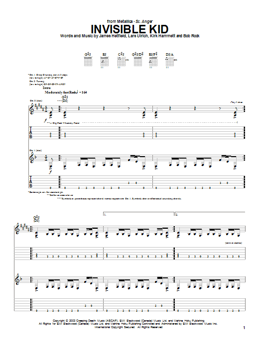 Metallica Invisible Kid sheet music preview music notes and score for Easy Guitar Tab including 6 page(s)