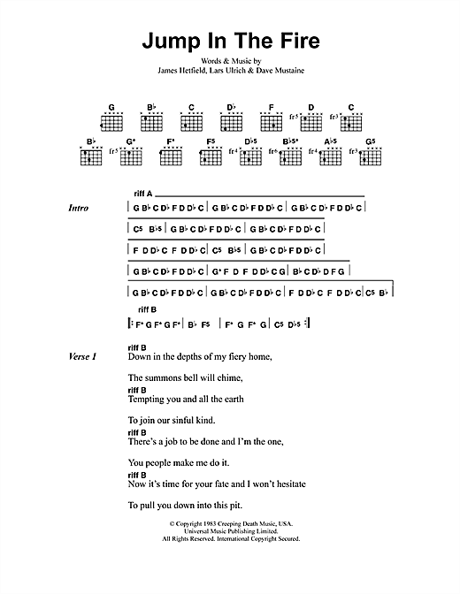 Metallica Jump In The Fire sheet music preview music notes and score for Ukulele including 4 page(s)