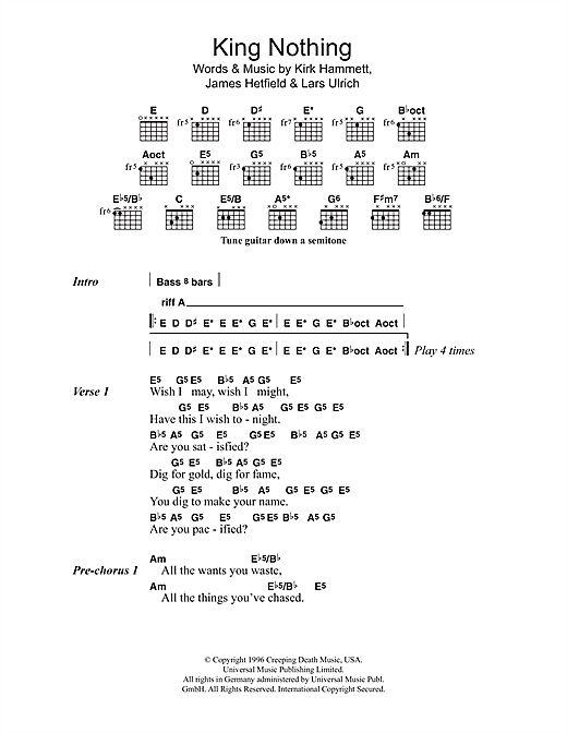 Metallica King Nothing sheet music preview music notes and score for Ukulele including 4 page(s)