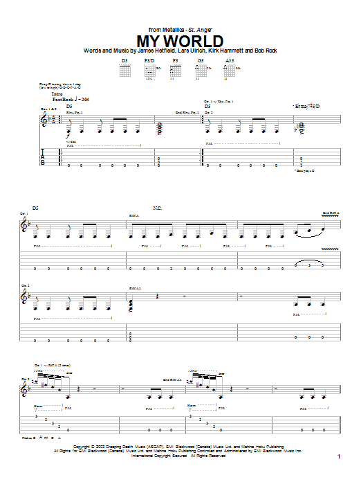 Metallica My World sheet music preview music notes and score for Easy Guitar Tab including 7 page(s)