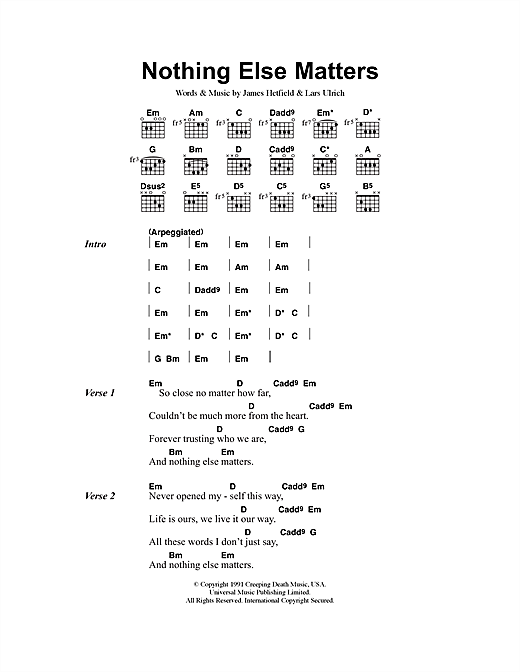 Metallica Nothing Else Matters sheet music preview music notes and score for Ukulele including 6 page(s)