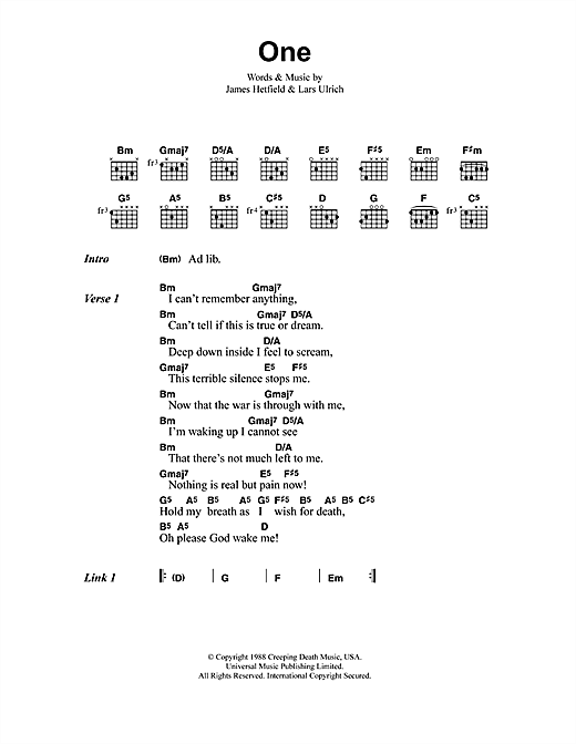 Metallica One sheet music preview music notes and score for Ukulele including 7 page(s)