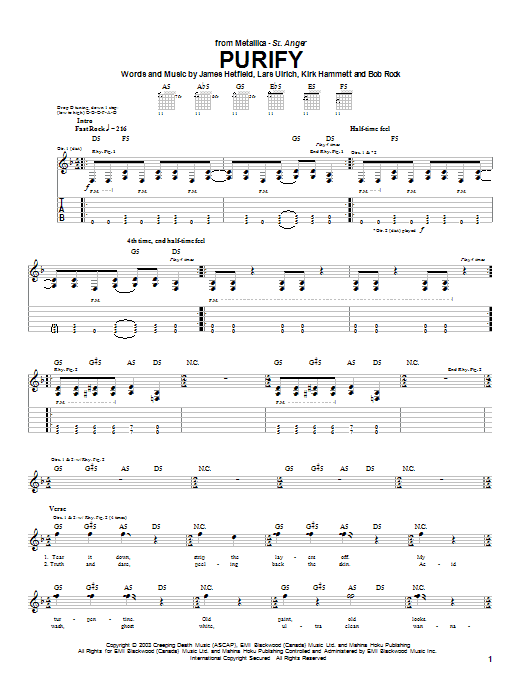 Metallica Purify sheet music preview music notes and score for Easy Guitar Tab including 4 page(s)