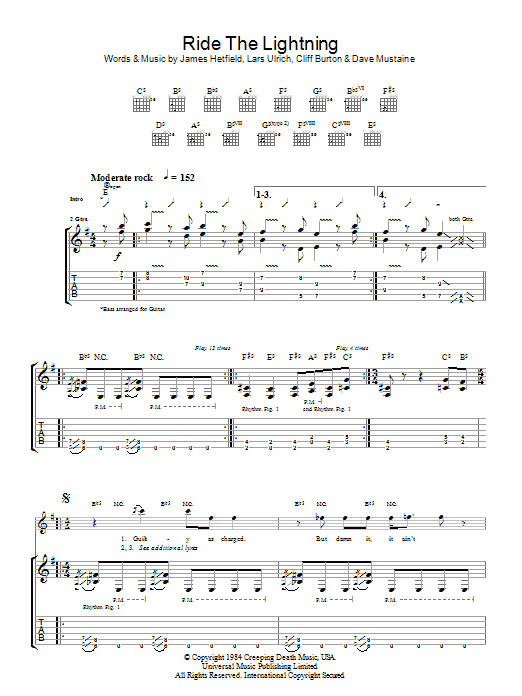Metallica Ride The Lightning sheet music preview music notes and score for Ukulele including 6 page(s)