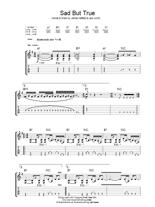 Metallica Sad But True sheet music preview music notes and score for Ukulele including 6 page(s)