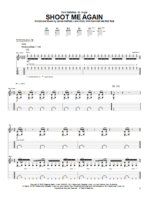 Metallica Shoot Me Again sheet music preview music notes and score for Easy Guitar Tab including 9 page(s)