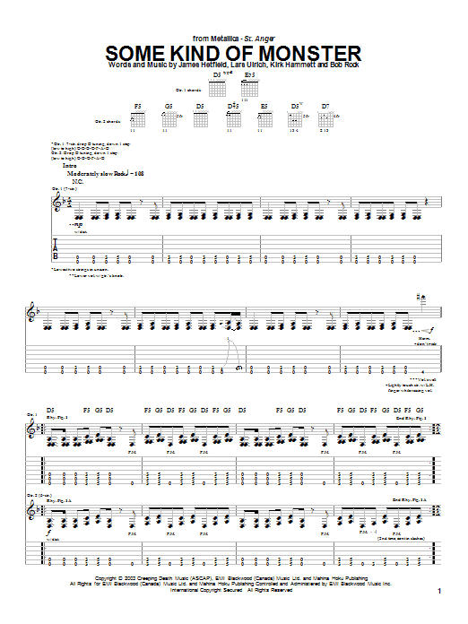 Metallica Some Kind Of Monster sheet music preview music notes and score for Easy Guitar Tab including 7 page(s)
