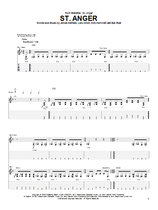 Metallica St. Anger sheet music preview music notes and score for Easy Guitar Tab including 6 page(s)