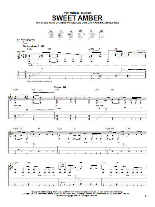 Metallica Sweet Amber sheet music notes and chords