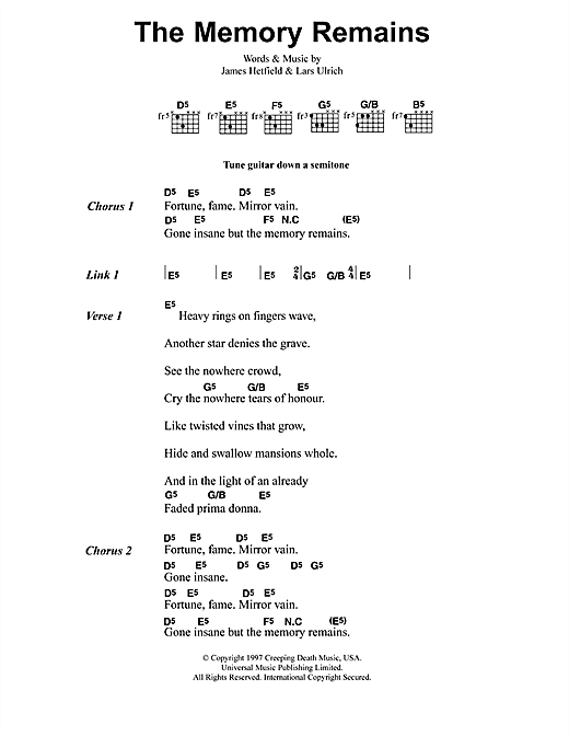 Metallica The Memory Remains sheet music preview music notes and score for Ukulele including 6 page(s)