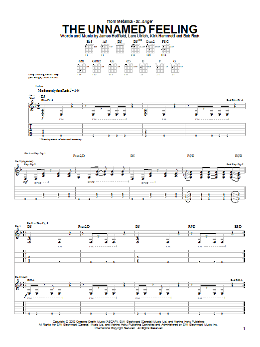 Metallica The Unnamed Feeling sheet music preview music notes and score for Easy Guitar Tab including 8 page(s)