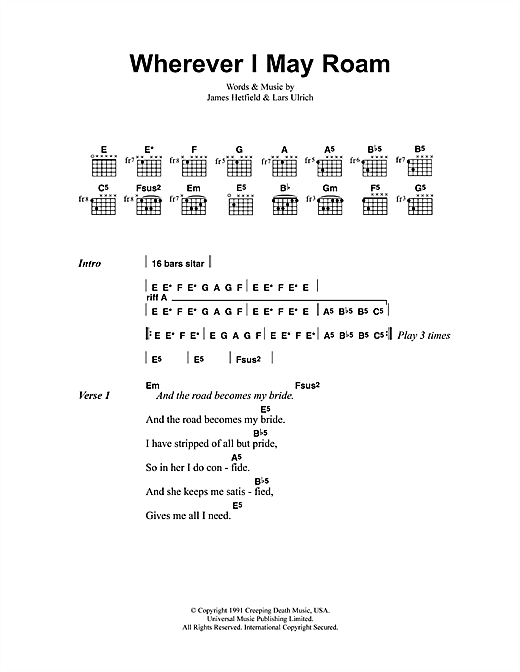 Metallica Wherever I May Roam sheet music preview music notes and score for Ukulele including 6 page(s)