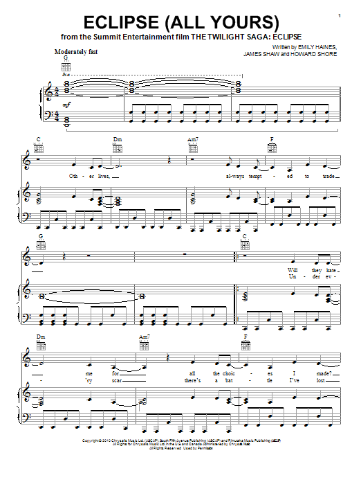 Metric Eclipse (All Yours) sheet music preview music notes and score for Piano, Vocal & Guitar (Right-Hand Melody) including 4 page(s)