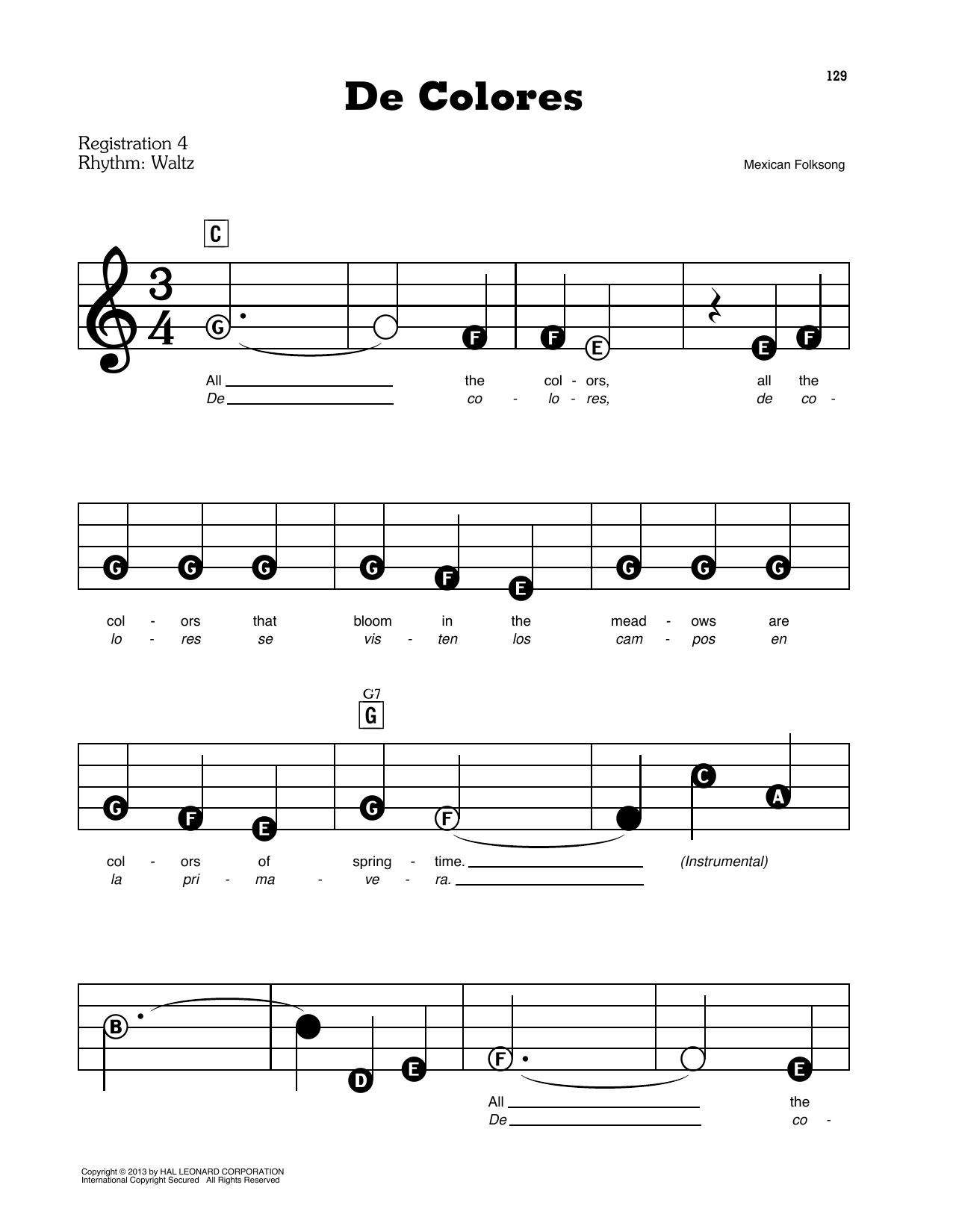 Mexican Folk Song De Colores sheet music preview music notes and score for Easy Piano including 3 page(s)
