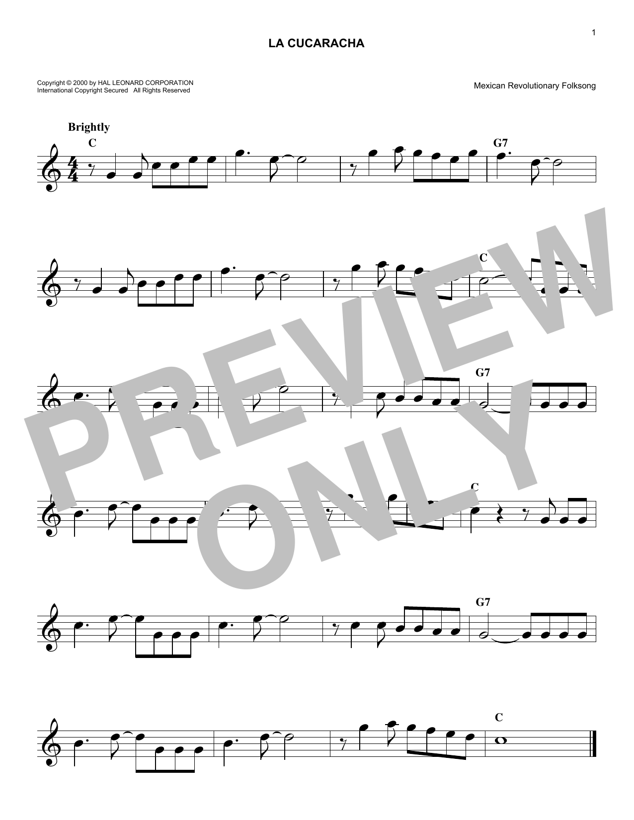 Mexican Revolution Folksong La Cucaracha sheet music preview music notes and score for Piano including 2 page(s)