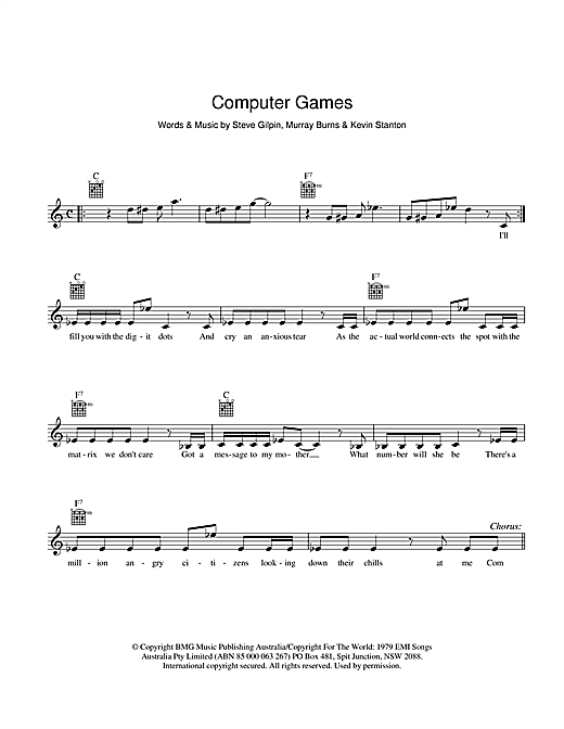 Mi-Sex Computer Games sheet music preview music notes and score for Melody Line, Lyrics & Chords including 2 page(s)