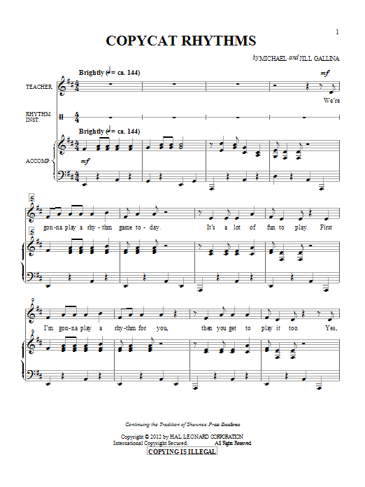 Michael & Jill Gallina Copy Cat Rhythms sheet music preview music notes and score for Unison Voice including 7 page(s)