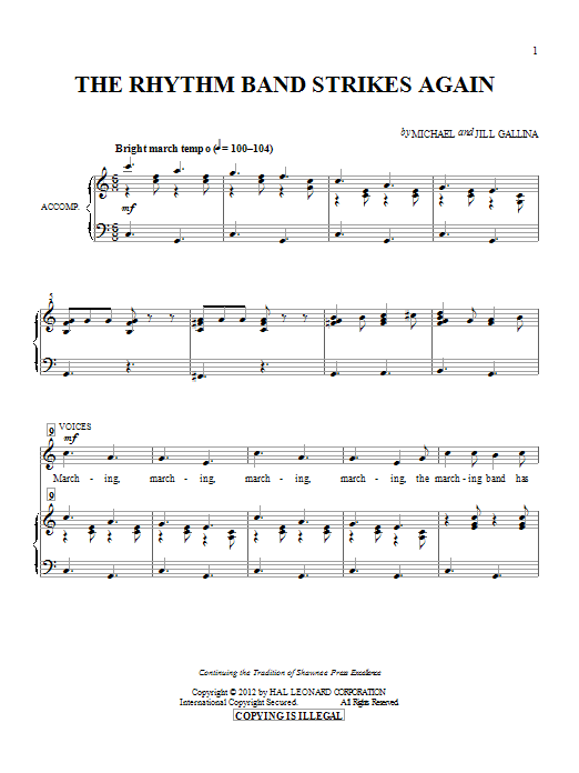 Michael & Jill Gallina The Rhythm Band Strikes Again sheet music preview music notes and score for Unison Voice including 5 page(s)