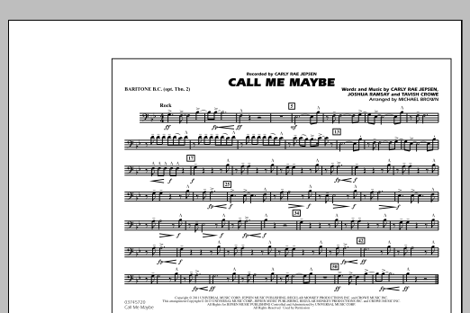 Michael Brown Call Me Maybe - Baritone B.C. (Opt. Tbn. 2) sheet music notes and chords