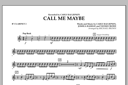 Michael Brown Call Me Maybe - Bb Clarinet 2 sheet music notes and chords