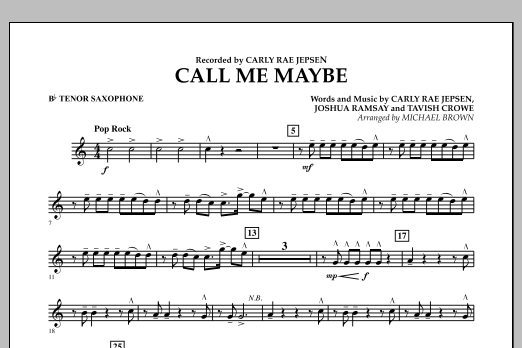Michael Brown Call Me Maybe - Bb Tenor Saxophone sheet music notes and chords